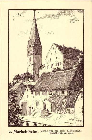 Künstler Ak Markelsheim Bad Mergentheim in Tauberfranken, Alte Klosterkirche um 1350, Engelberg