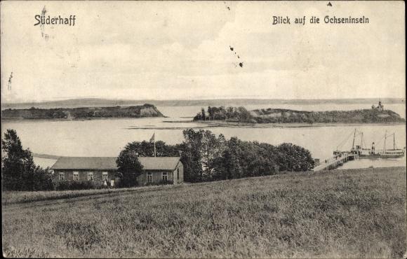 Ak Suderhaff Danemark Blick Auf Die Ochseninseln Haus Am Wasser