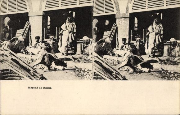 Stereo Ak Biskra Algerien, Marché, Marktplatz, Algerier