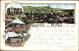 Litho Flöha in Sachsen, Gasthof Flöha, Bahnhof, Blick auf Ortschaft