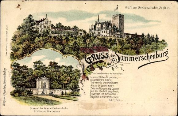 Litho Sommerschenburg Sommersdorf Landkreis Börde, Gneisenau´sches Schloss, Gneisenau Denkmal