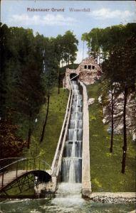 Ak Rabenau im Erzgebirge, Blick auf den Wasserfall im Rabenauer Grund