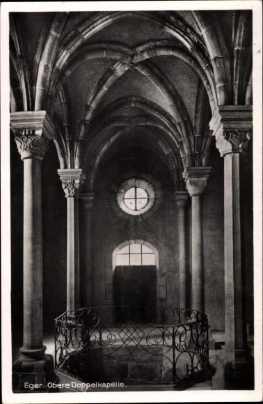 Ak Cheb Eger Reg. Karlsbad, Obere Doppelkapelle, Innenansicht, Kaiserburg