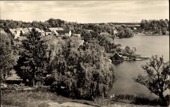 Ak Dorf Zechlin Rheinsberg, Teilansicht des Ortes, Häuser am Seeufer