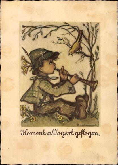 Künstler Ak Hummel, Berta, Kommt a Vogerl geflogen, Junge spielt auf der Flöte, Vogelgezwischer