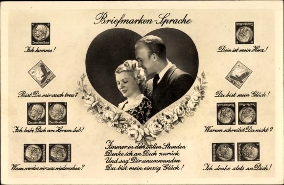Briefmarken Ak Briefmarkensprache, Liebespaar, Amag 67366/2
