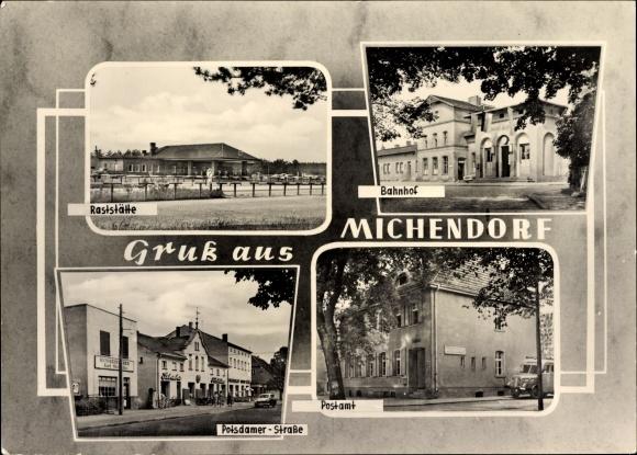 Ak Michendorf Groß Kreutz, Raststätte, Bahnhof, Postamt, Potsdamer Straße