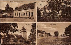 Ak Kade Jerichow Sachsen Anhalt, Restaurant und Geschäft von Ferdinand Pflaumbaum, Schloss, Kirche