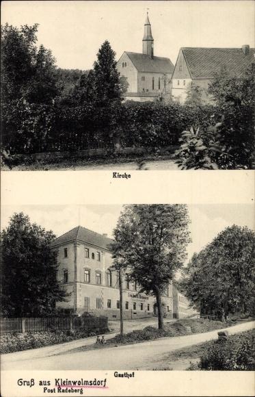 Ak Kleinwolmsdorf Arnsdorf Kreis Bautzen, Blick zur Kirche, Straßenpartie mit Gasthof und Brauerei