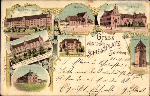 Litho Jüterbog, Neuer Schießplatz, Kasernen, Kantine, Wasserturm, Offizierskasino, Soldatenheim