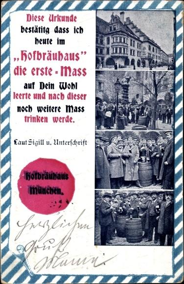 Ak München Bayern, Hofbräuhaus Urkunde für Maß Trinken