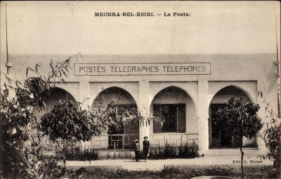 Ak Mechra Bel Ksiri Marokko, La Poste, Postes Télégraphes Téléphones