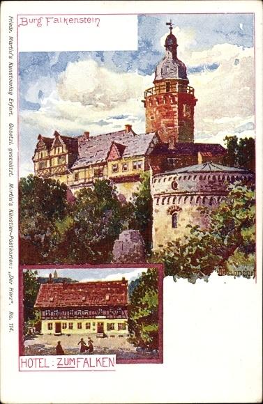 Künstler Ak Bahndorf, Heribert, Falkenstein Harz, Ansicht von Burg Falkenstein, Hotel zum Falken 0