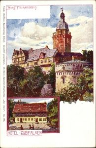 Künstler Ak Bahndorf, Heribert, Falkenstein Harz, Ansicht von Burg Falkenstein, Hotel zum Falken