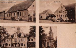 Ak Carow Karow Jerichow in Sachsen Anhalt, Gasthof von Otto Grossler, Dorfstraße, Schloss, Kirche
