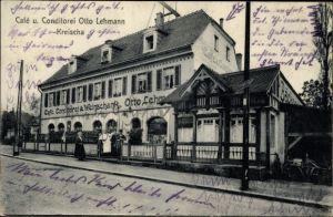 Ak Kreischa im Erzgebirge, Cafe und Konditorei Otto Lehmann, Straßenansicht