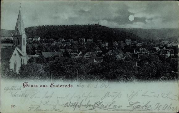Mondschein Ak Bad Suderode Quedlinburg im Harz, Kirche und Blick über die Dächer des Ortes