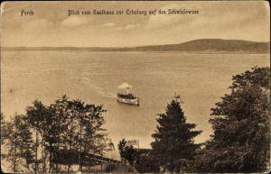 Ak Ferch Schwielowsee, Dampfschiff, vom Gasthaus zur Erholung gesehen, Inh. C. Schmidt