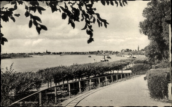 Ak Porz Köln Nordrhein Westfalen, Partie am Rheinufer, Weg zur Promenade