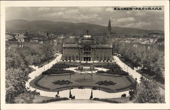 Ak Zagreb Kroatien, Panorama der Ortschaft, Grünanlagen