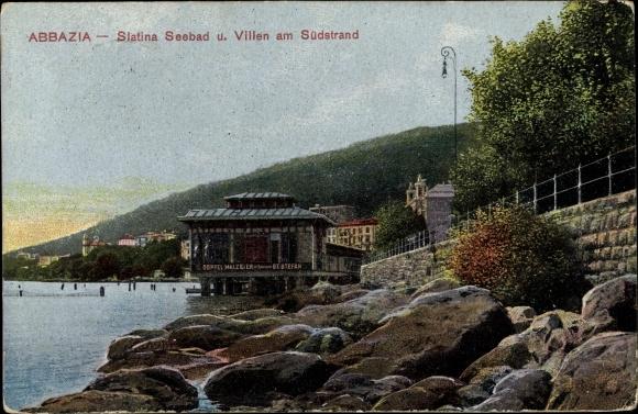 Ak Abbazia Kroatien, Slatina Seebad und Villen am Südstrand