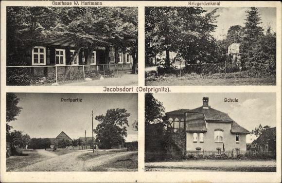 Ak Jacobsdorf Putlitz Brandenburg, Gasthaus W. Hartmann, Kriegerdenkmal, Dorfpartie, Schule