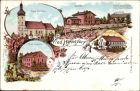 Litho Jasienica Dolna Niederhermsdorf Kr. Neiße Schlesien, Kirche, Schule, Bahnhof, Postamt