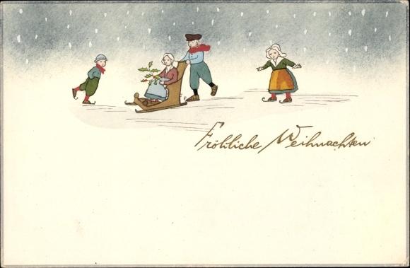 Frohe Weihnachten Familie.Ak Frohe Weihnachten Familie Mit Schlittschuhen Und Schlitten Auf Dem Eis