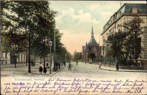Ak Dortmund im Ruhrgebiet, Straßenpartie am Südwall, Kirche, Anwohner
