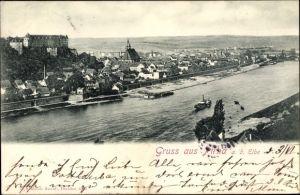 Ak Pirna in Sachsen, Blick auf die Stadt, Elbepartie