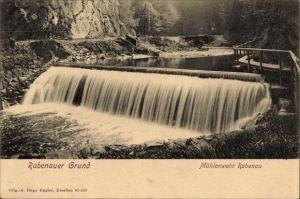 Ak Rabenau im Erzgebirge, Blick auf das Mühlenwehr