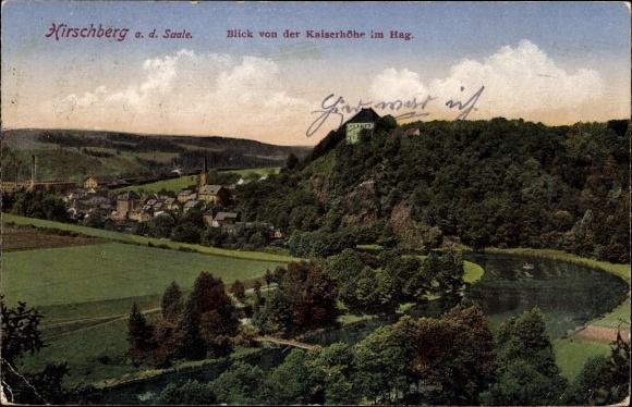 Ak Hirschberg Saale, Blick von der Kaiserhöhe im Hag, Panorama vom Ort, Wald