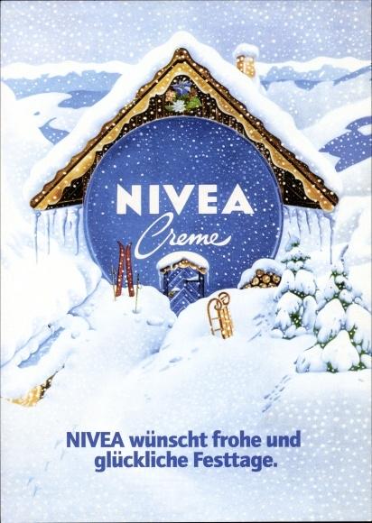 Künstler Ak Frohe Weihnachten, Werbung Nivea Creme, Skihütte in den Bergen, Winter