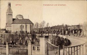 Ak Zittau in der Oberlausitz, Ansicht vom Krematorium und Urnenhain, Gräber
