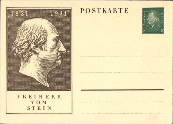 Ganzsachen Ak Freiherr vom Stein, Heinrich Friedrich Karl vom und zum Stein