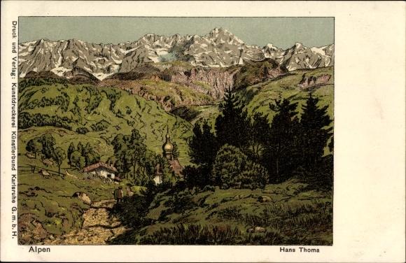 Künstler Litho Thoma, Hans, Alpenpanorama, Kirchturm