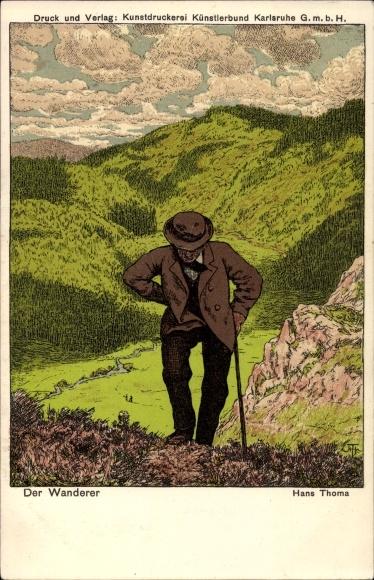 Künstler Litho Thoma, Hans, Der Wanderer, Gebirge