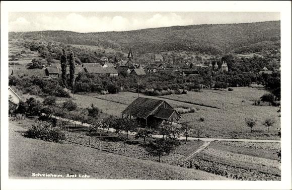 Ak Schmieheim Kippenheim im Ortenaukreis, Teilansicht vom Ort mit Umgebung, Amt Lahr
