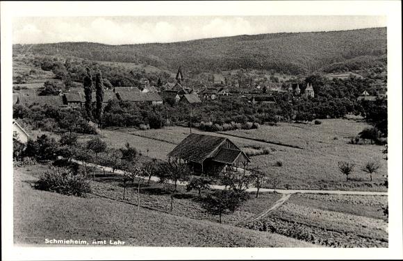 Ak Schmieheim Kippenheim im Ortenaukreis, Amt Lahr, Teilansicht vom Ort mit Umgebung