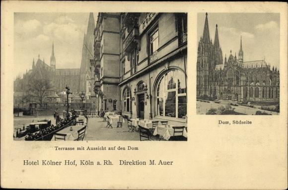 Ak Köln am Rhein, Terrasse mit Aussicht auf den Dom, Dom von der Südseite