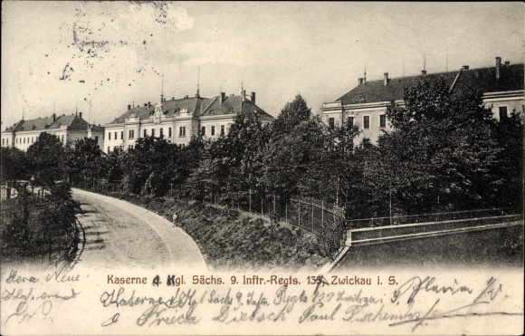 Ak Zwickau in Sachsen, Kaserne des Königlich Sächsischen 9. Infanterie-Regiments 133