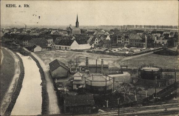Ak Kehl am Rhein Ortenaukreis Baden Württemberg, Industrieanlage am Rhein, Bahnstrecke