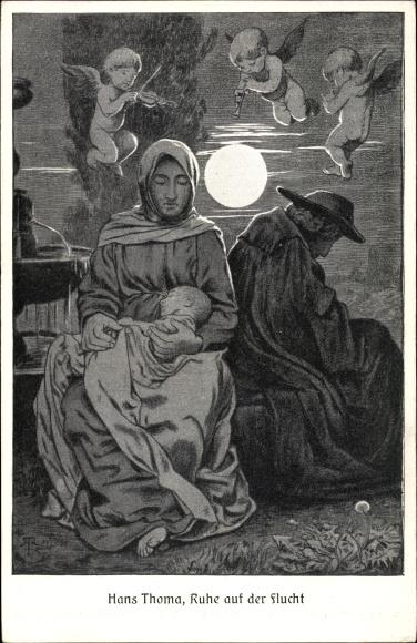 Künstler Ak Thoma, Hans, Ruhe auf der Flucht, Familie, Engel, Mutter mit Säugling