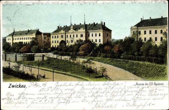 Ak Zwickau in Sachsen, Kaserne des 133. Regiments, Gebäude, Wege, Zieher