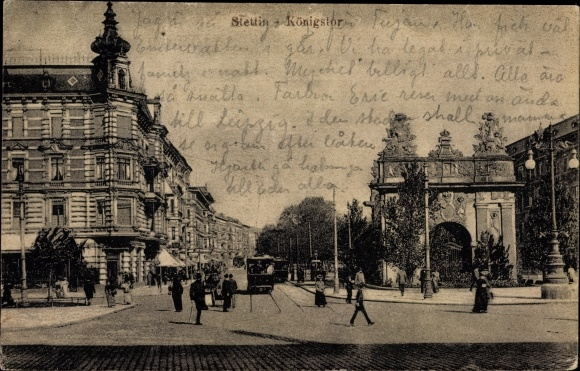 Ak Szczecin Stettin Pommern, Straßenpartie mit Königstor