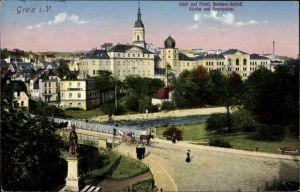Ak Greiz in Thüringen, Blick auf Residenzschloss, Kirche, Gymnasium, Fluss, Denkmal