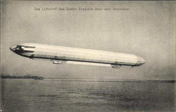 Ak Das Luftschiff LZ 3 des Grafen Zeppelin über dem Bodensee