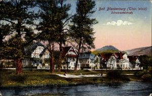 Ak Bad Blankenburg im Kreis Saalfeld Rudolstadt, Partie am Ufer, Schwarzatalstraße