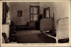 Ak Ajaccio Corse du Sud, Chambre où naquit Napoléon Ier, Levy et Fils, Napoleons Geburtsraum