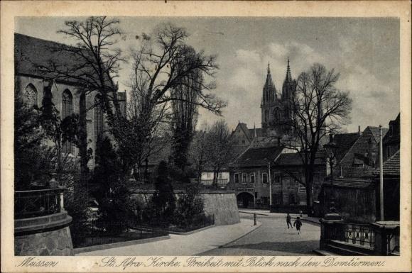 Ak Meißen in Sachsen, Blick zur St. Afra Kirche, Freiheit, Blick zum Dom